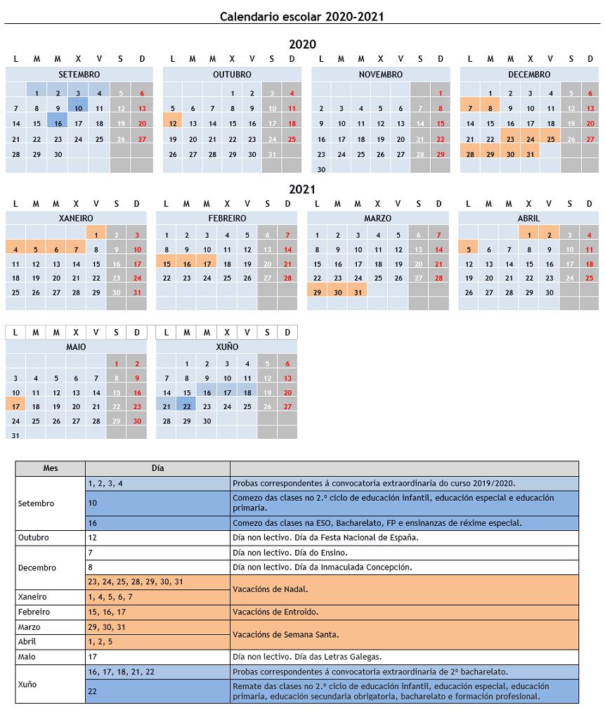Calendario escolar 2020/2021